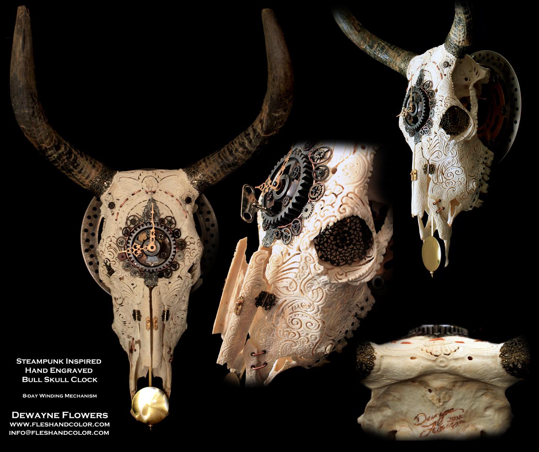 Steampunk Engraved Bull Skull Clock